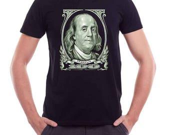 Benjamin Franklin shirt- 100 dollar T-shirt - Mens t-shirt- Free Shipping Worldwide