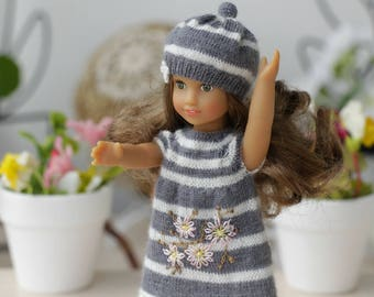 American girl mini 6-inches doll Hand knitted gray striped dress   AG Mini Doll clothes Mini American girl  doll clothing fashion doll