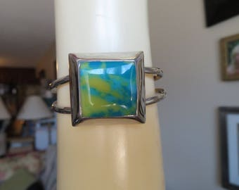 Vintage Taxco  925 Sterling Cuff Bracelet Azurite Gemstone, Hallmarked 925 TN-4D Mexico  Great Condition, Wt. 23.5 Grams