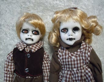 Creepy Doll Twins  # 122  Scary Doll Brother and Sister  Day of the Dollies