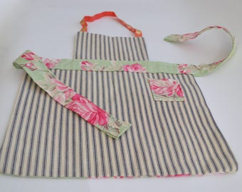 Reversible Toddler/Child's Full Apron Floral and Hickory Stripe