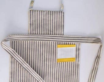 Reversible Toddler/Child's Full Apron Yellow and Hickory Stripe