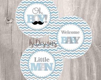 Little man centerpieces, INSTANT DOWNLOAD, printable chevron mustache centerpices, little man party circles, baby shower decoration