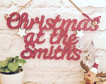 Christmas sign,christmas at the, personalised sign, wooden sign, christmas decoration, hanging christmas sign, personalised christmas sign