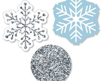 Winter Wonderland - Shaped Paper Cut Outs - Snowflake Holiday Party & Winter Wedding Decoration Kit - 24 Pc. Set