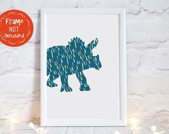 triceratops dinosaur print, triceratops nursery print, Dinosaur nursery decor, dinosaur nursery art, nursery decor dinosaur, PRINT ONLY