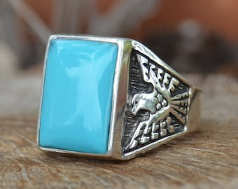 Navajo sterling silver and sleeping beauty turquoise cast thunderbird ring size 10