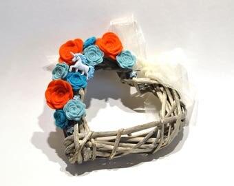 Small Wicker Heart Wreath / Orange teal and Duck Egg Blue / Felt Flower Wreath / Heart Pew end / wedding chair back / unicorn heart wreath