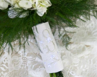 Custom Monogram Bridal Bouquet Wrap ~ Emmeline Monogram and Accent Frame