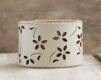CUSTOM HANDSTAMPED wide cream leather cuff with flower design by mothercuffer