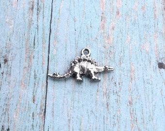Stegosaurus dinosaur charm (2 sided) silver toned pewter (1 piece) - silver stegosaurus pendant, paleontology charms, Jurassic charms, SS14