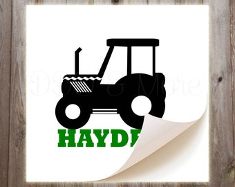 Personalized Tractor Vinyl Decal