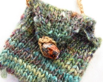 Tiny Wonky Pouch - Handspun, handknit pouch - amulet pouch, good luck charm, sparkle, coin purse, necklace, make a friend smile, happiness