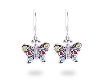 Butterfly Silver Dangle Earrings / Sterling Silver / Fancy Colour Zircon / Fine Quality