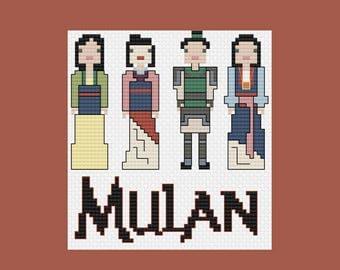 Mulan's Outfits PDF Cross-Stitch Pattern