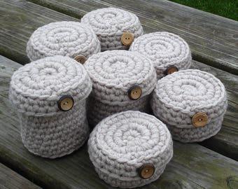 Crochet basket set of SEVEN-crocheted basket-crochet storage-basket storage-basket-hand crochet basket-storage-set of baskets-storage basket