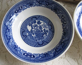 Blue Willow Ware Dessert Bowls Set of Four (4) Vintage Dinnerware and Replacements