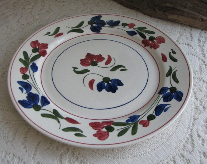 Southern Pottery Blue Ridge Plate Blue and Red Pattern Vintage Farmhouse and Rustic Home Décor
