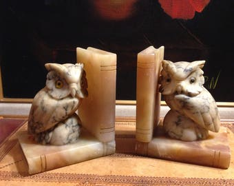 Soapstone Owl Bookends - Wise Owls - Vintage Shelf Display - Book Holders