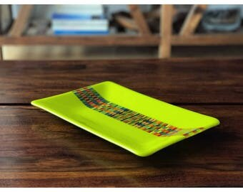 Handmade, chartreuse, lemongrass, green, fused glass plate, accent piece for your home