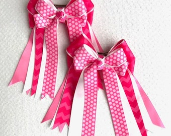 Horse Show Hair Bows/Pink Chevron/Ready2Mail with clips