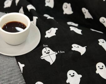 Cute Ghost Pattern Cotton Double Gauze Fabric by Yard - Black Background