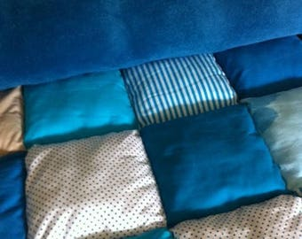 child quilt blue and taupe only to order