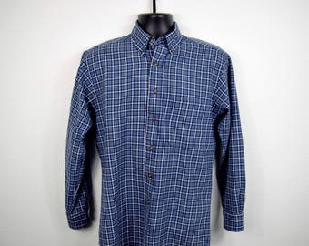 1990s Mens Pendleton Vintage Button Down Long Sleeved Plaid Shirt / Size SMALL / 100% Wool / Blue Gray White Square Print / Chest Pocket