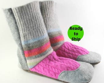 Gift for Wife- Cozy Gift- Gift for Her- Slipper Boots- Easter Gift- Unique Gift for Girl- Wool Slippers- Womens Pajamas- Last Minute Gift