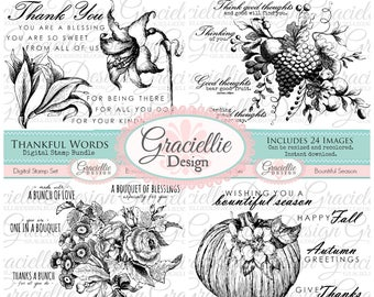 15% OFF - Thankful Words Digital Stamp Bundle