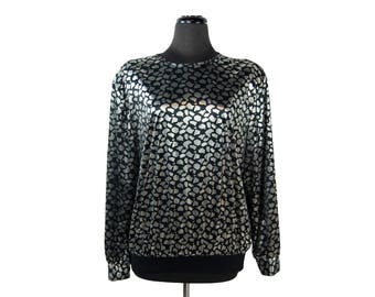 Vintage 1980s Lauren Lee Shiny Metallic Silver and Black Abstract Print Collarless Waistband Top