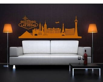 20% OFF Summer Sale Las Vegas Skyline wall decal, sticker, mural, vinyl wall art