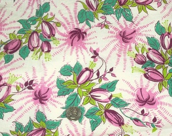 Vintage Feedsack Fabric 1930's 1940's Pink Burgundy Cotton Quilt Patchwork Fat Quarter