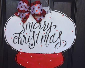 Merry Christmas Ornament Door Sign