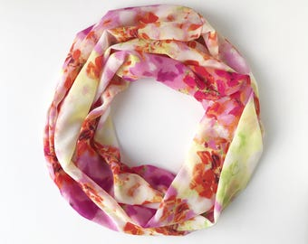 Bright Infinity Scarf, Indoor Scarf Necklace, Printed Scarf, Multicolor Scarf, Tropical Scarf, Colorful scarf, Gift For mom
