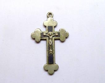 Vintage French Brass Crucifix. Souvenir de Lourdes. Cross Pendant.