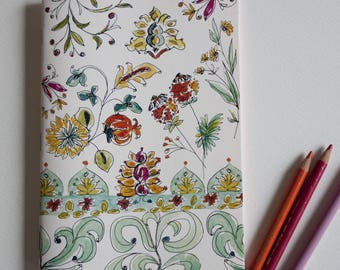 "Notebook ""flowers Watercolour Indian"" small blanket laid paper format"