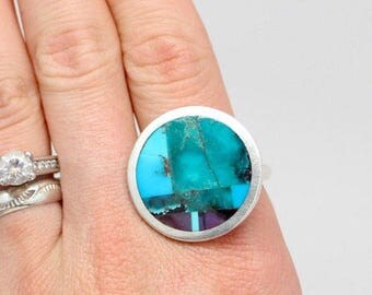 """Gorgeous Sterling Silver Native American Zuni Artisan Multi-Stone Mosaic Inlay Turquoise Modern Contemporary Ring by """"Coonsis"""" Sz 10"""
