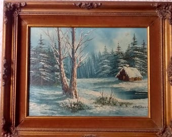 """Original Oil Painting Certified by Artistic Interiors. signed by Cantrell, 22"""" X 18 1/2"""", Beautiful Ornate Vintage Frame"""
