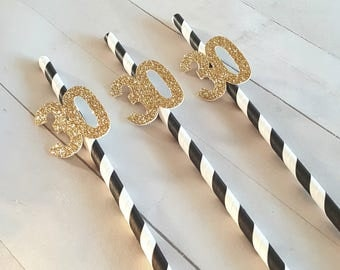30th Birthday Decorations, 30th Anniversary Decorations, Thirty and Flirty, 30 Straws, Black and Gold 30th Birthday, Black and Gold Straws