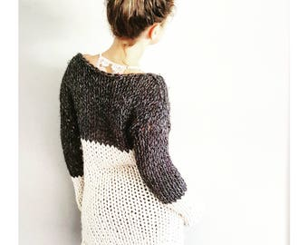 Two Tone Tunic - Chunky knit sweater, color block sweater, bulky sweater, knitted chunky sweater, knitted chunky tunic