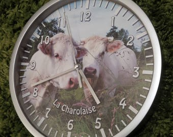 wall clock Charolais cow pattern