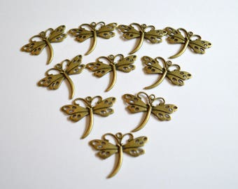 10 x  Dragon Fly Pendants ~ Antique Bronze ~ Lead and Nickel Free