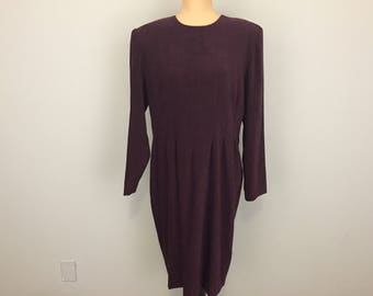 Plus Size 16 Dress Purple Minimalist Clothing Long Sleeve Collarless Plum Womens Dresses Fall Winter Large Size 1X Women Plus Size Clothing