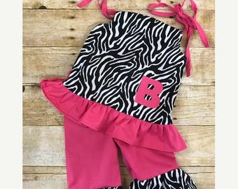 20% OFF Handmade personalized monogrammed wild pink zebra girls outfit, Pink and zebra ruffle pants and top