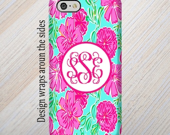 iPhone 8 Case, iPhone 7 Case, iPhone 8 Plus Case, iPhone X Case, Galaxy S8 Case, Monogram iPhone Case, Lilly Pulitzer Inspired,Gift for her.