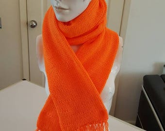 Orange scarf handmade handknitted double thickness scarf winter warmer gift for her orange scarf scarf orange