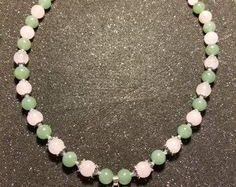 19 inch rose quartz and green aventurine heart chakra necklace