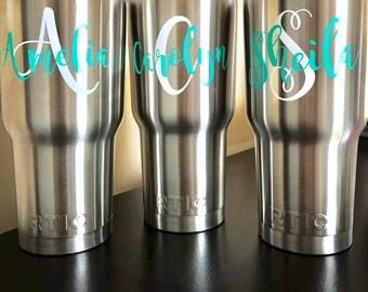 30 oz Monogram Tumbler, RTIC Tumbler, Monogram Cup, Beach Tumbler, Monogram Tumbler, Tumbler, Vacuum Insulated Stainless Steel