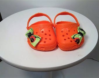 "Cute Halloween Clogs for any 18"" dolly like the American Girl Doll"